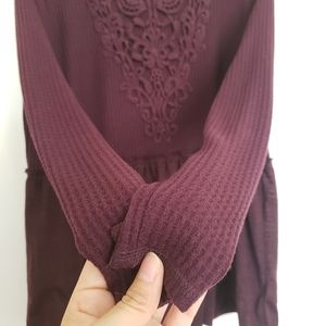 Knox Rose Sweaters - 🎀Knox Rose Burgundy Peplum Knit Long Sleeve